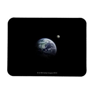 La tierra y la luna imán de vinilo