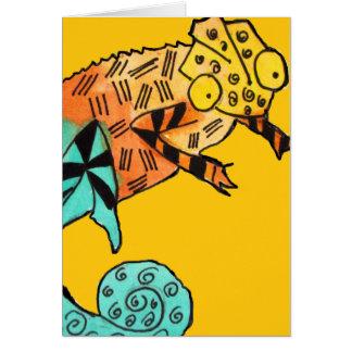 La tinta amarilla del camaleón embroma la tarjeta