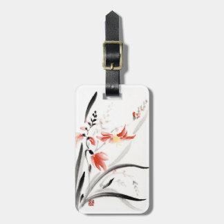 La tinta china oriental clásica del sumi-e florece etiquetas de maletas