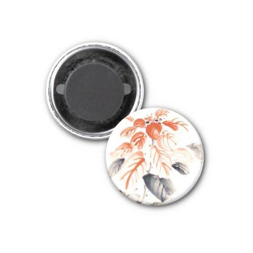 La tinta china oriental clásica del sumi-e florece imanes de nevera
