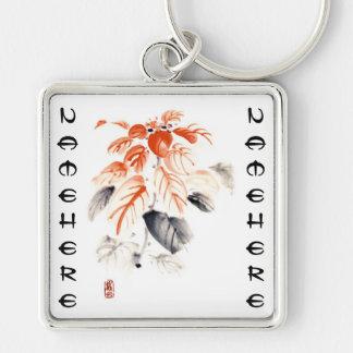 La tinta china oriental clásica del sumi-e florece llavero cuadrado plateado