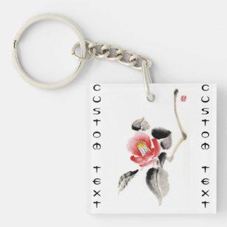 La tinta china oriental clásica del sumi-e florece llavero cuadrado acrílico a doble cara