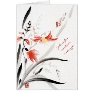 La tinta china oriental clásica del sumi-e florece tarjeta pequeña