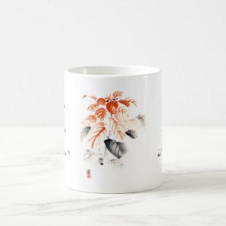La tinta china oriental clásica del sumi-e florece taza