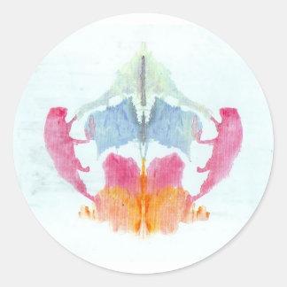 La tinta de la prueba de Rorschach borra el animal Pegatina Redonda