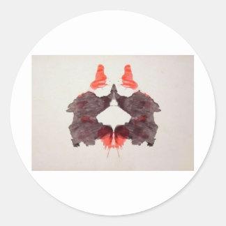 La tinta de la prueba de Rorschach borra la placa Pegatina Redonda