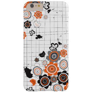 La tinta del Grunge de los polluelos de las flores Funda De iPhone 6 Plus Barely There