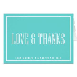 La tipografía clásica le agradece cardar - el azul tarjeta de felicitación