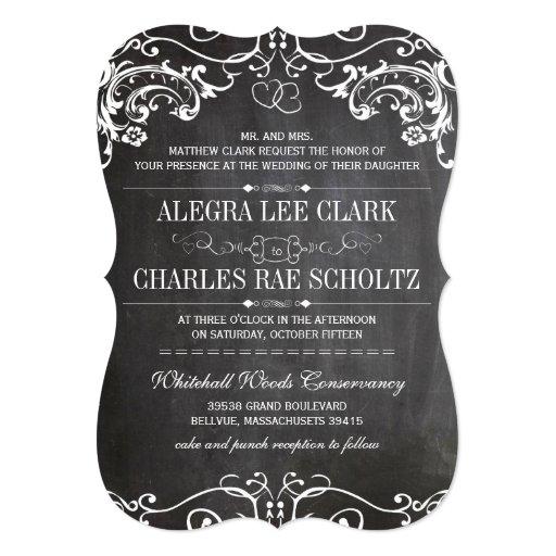 """La tipografía cortada con tintas pizarra del invitación 5"""" x 7"""""""