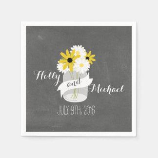 La tiza inspiró el boda del Wildflower del tarro Servilletas De Papel