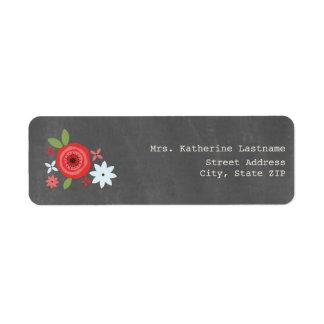 La tiza inspiró floral rojo y azul etiqueta de remite