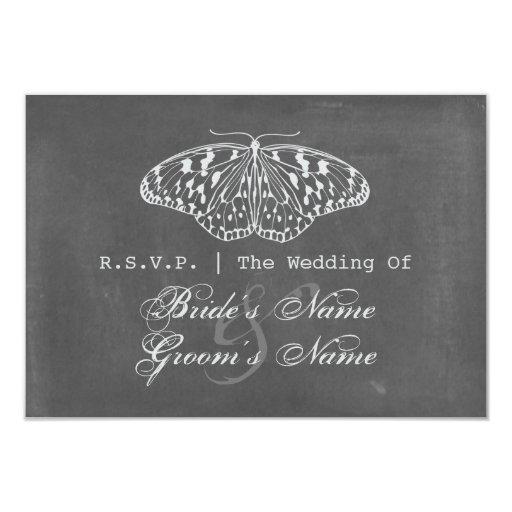 La tiza inspiró la mariposa que casaba RSVP Invitación 8,9 X 12,7 Cm