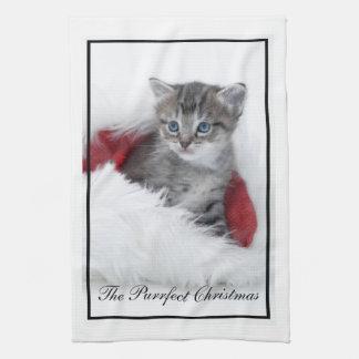 La toalla de té del gatito del navidad de Purrfect