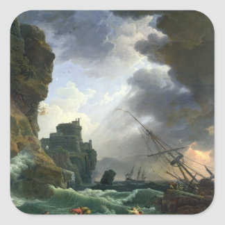 La tormenta, 1777 pegatina cuadrada
