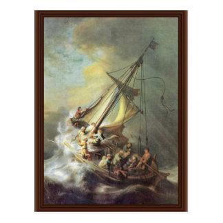 La tormenta en el mar de Galilea. Por Rembrandt Postal