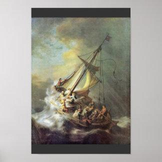 La tormenta en el mar de Galilea. Por Rembrandt Va Poster