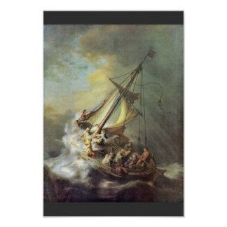La tormenta en el mar de Galilea. Por Rembrandt Va Póster