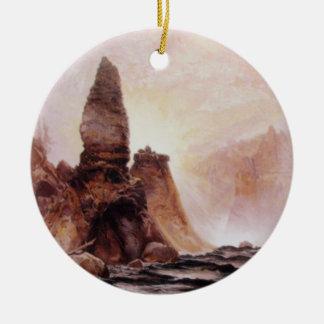 La torre cae en Yellowstone - 1876 Adorno Navideño Redondo De Cerámica