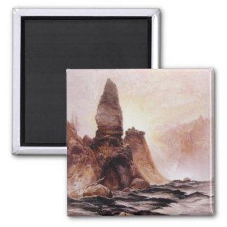 La torre cae en Yellowstone - 1876 Imán Cuadrado