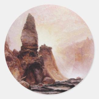 La torre cae en Yellowstone - 1876 Pegatina Redonda