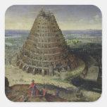 La torre de Babel, 1594 Pegatina Cuadrada