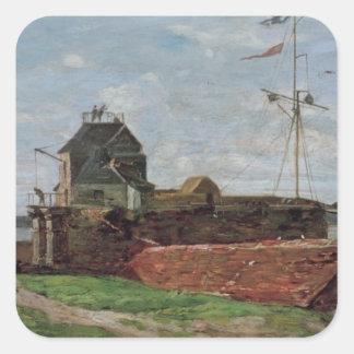 La torre de Francois Ier en Le Havre, 1852 Pegatina Cuadrada