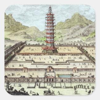 La torre de la porcelana de Nanking, platea 12 de Pegatina Cuadrada