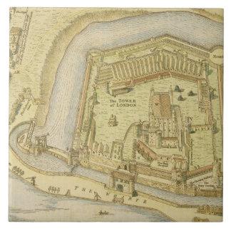 La torre de Londres, de una encuesta hecha en 1597 Azulejo Cuadrado Grande