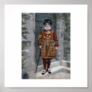 La torre de Londres el guarda del terrateniente Póster