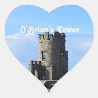 La torre de O'Brien Calcomanía De Corazón Personalizadas