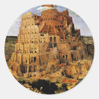 """La torre de Pieter Bruegel """"de Babel"""" (circa 1563) Pegatina Redonda"""