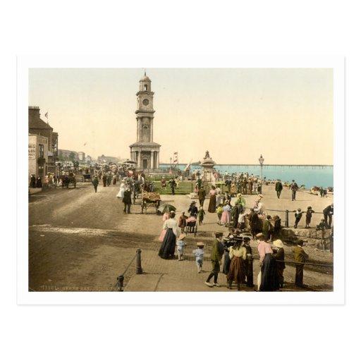 La torre de reloj, bahía de Herne, Kent, Inglaterr Tarjeta Postal