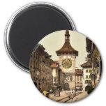 La torre de reloj, Berna, ciudad, vintage de Suiza Iman De Frigorífico