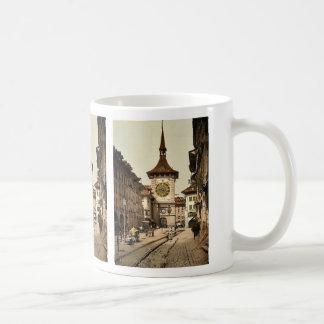 La torre de reloj, Berna, ciudad, vintage de Suiza Tazas De Café