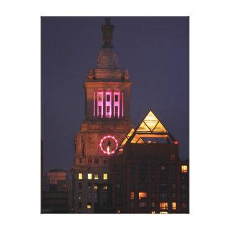 La torre de reloj de Edison de la estafa se encend Lona Estirada Galerías