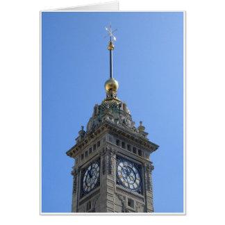 La torre de reloj tarjeta de felicitación