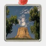 La torre del diablo, Wyoming, los E.E.U.U. Adorno Navideño Cuadrado De Metal