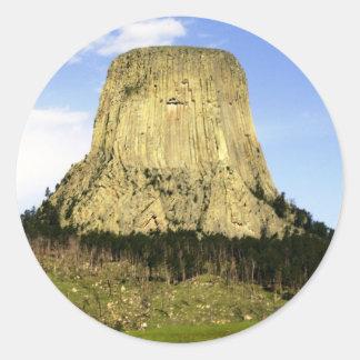 La torre del diablo, Wyoming Pegatina Redonda