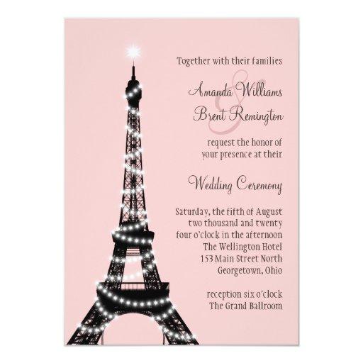 La torre Eiffel centellea invitación del boda (el