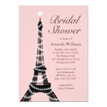 La torre Eiffel centellea invitación nupcial de la