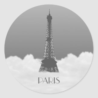 La torre Eiffel de París flota en pegatina del nom