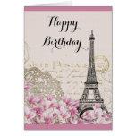 La torre Eiffel del vintage con rosa florece Tarjeta De Felicitación