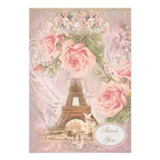 La torre Eiffel elegante lamentable le agradece Invitación
