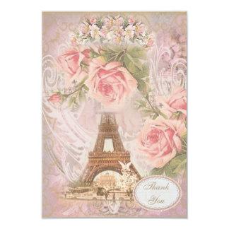 """La torre Eiffel elegante lamentable le agradece Invitación 3.5"""" X 5"""""""