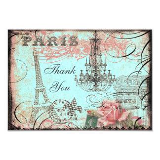 """La torre Eiffel elegante y la lámpara le agradecen Invitación 3.5"""" X 5"""""""