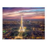 La torre Eiffel en la noche, París Francia Postal
