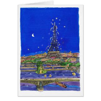 La torre Eiffel en la noche Tarjeta De Felicitación