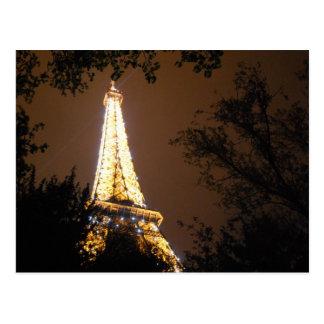 La torre Eiffel en la noche Postales