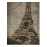La torre Eiffel en la postal de París