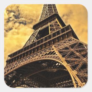 La torre Eiffel en París Francia Pegatina Cuadrada